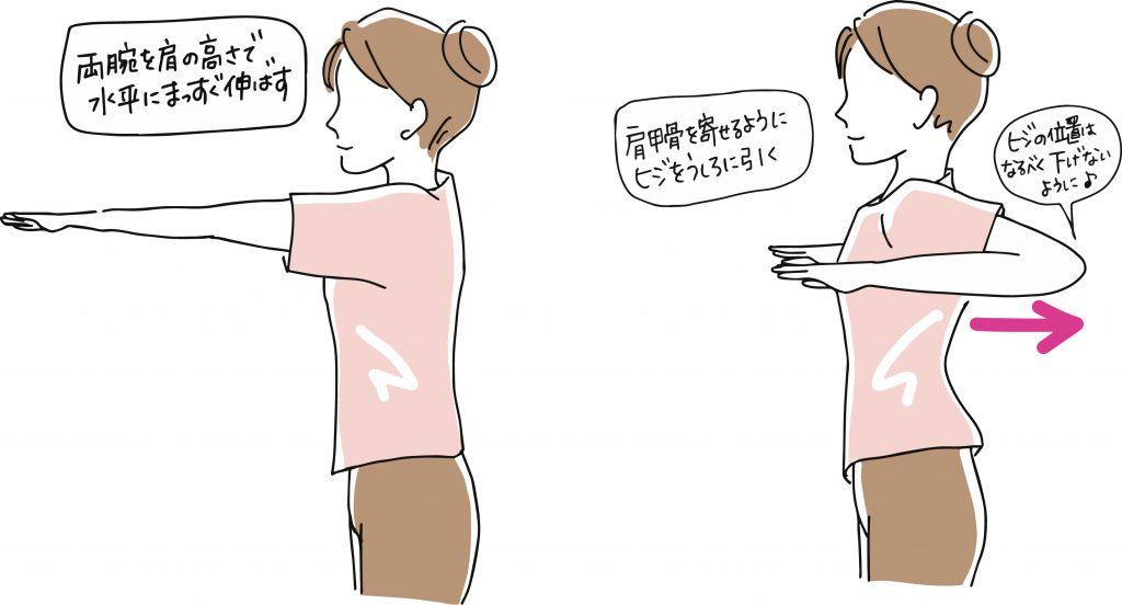 子供を抱っこして背中が痛いときにお勧めの背中、肩甲骨のストレッチ